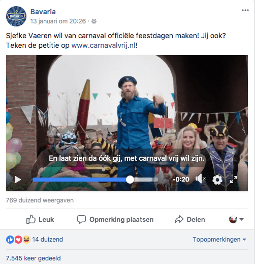 Facebookbericht Bavaria vrij met Carnaval