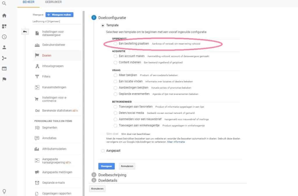 Google Analytics doelconfiguratie