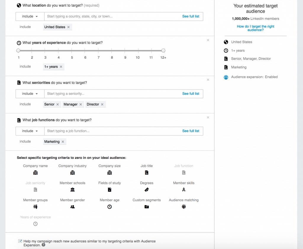 Screenshot LinkedIn audence