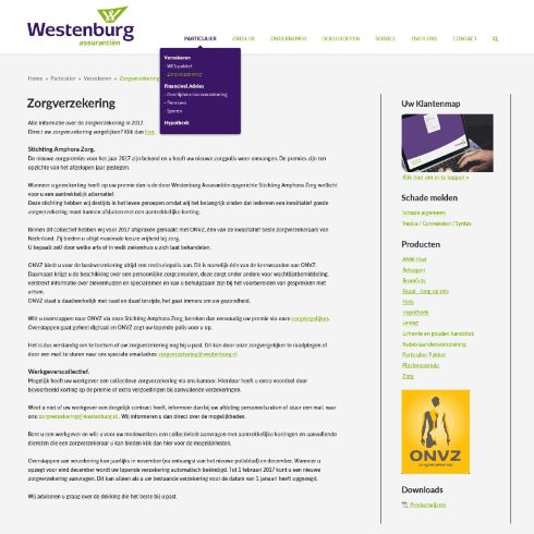 website westenburg navigatie en contact