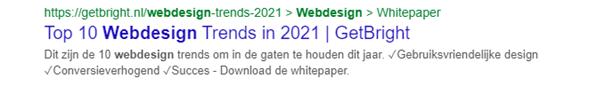 google meta description webdesign