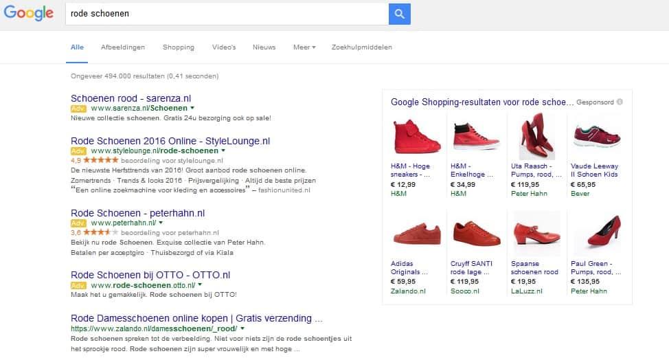 google resultaten rode schoenen