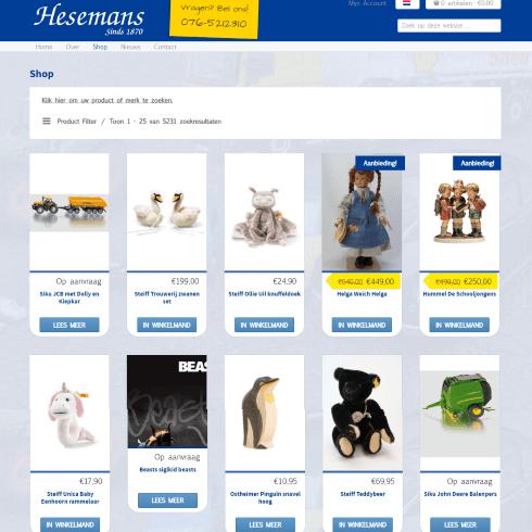 hesemans homepage webshop