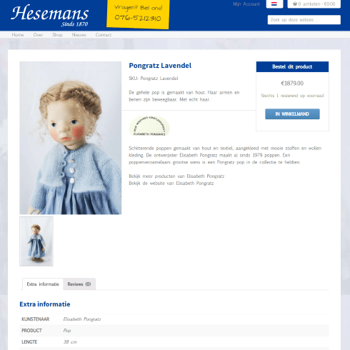 hesemans product page webshop