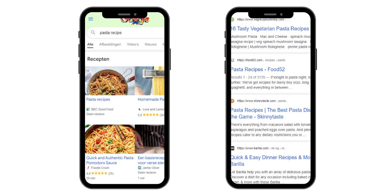 google search results pasta recipe